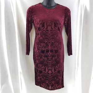 VFEMAGE Red Velvet Long Sleeve Dress Sz 12
